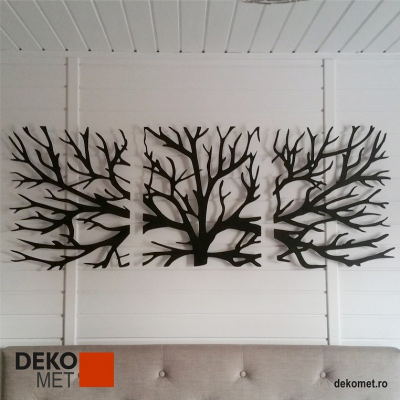 Decoratiune de perete 3 piese - Ramuri (1500 x 550 mm)